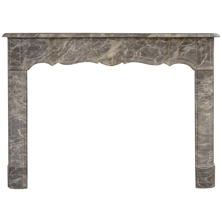 French Régence Fireplace Mantel in Grey Marble For Sale