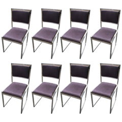 Set of Eight Chairs in Chrome, Brass and Alcantara by Willy Rizzo