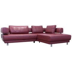 Ewald Schillig Brand Face Designer Corner Sofa Leather Red Couch Modern