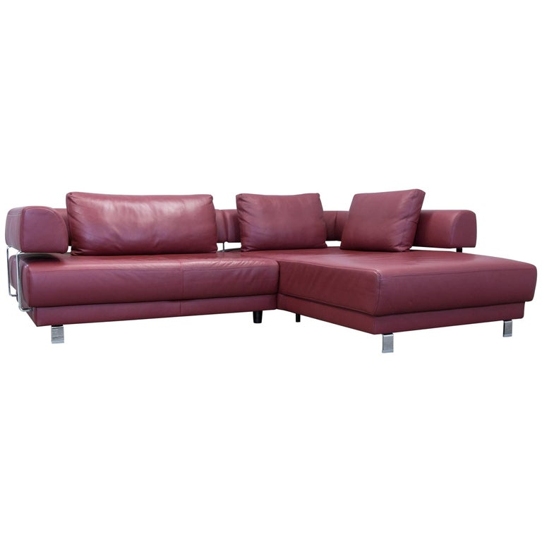 ewald schillig brand face designer corner sofa leather red couch modern for sale at 1stdibs. Black Bedroom Furniture Sets. Home Design Ideas