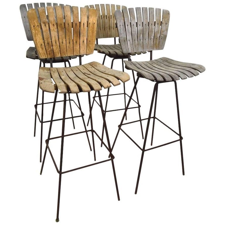 Four Weathered Wood Stools By Umanoff For Sale At 1stdibs