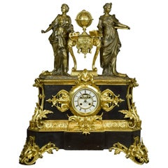 French Table Clock with Allegory of Sciences, 19th Century