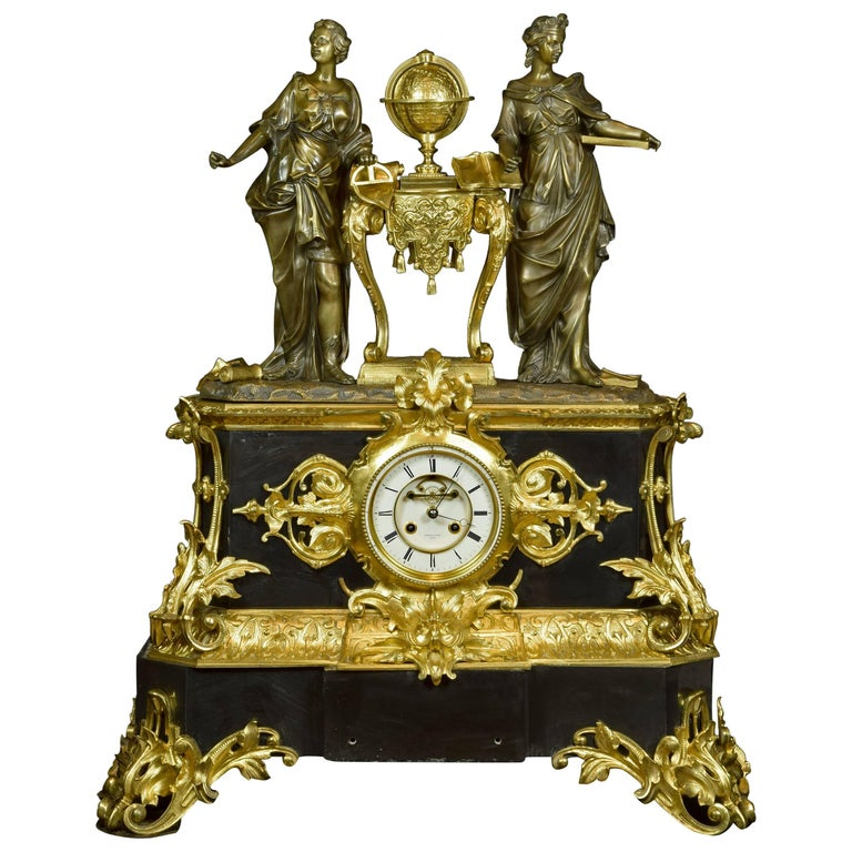 French Table Clock with Allegory of Sciences, 19th Century For Sale
