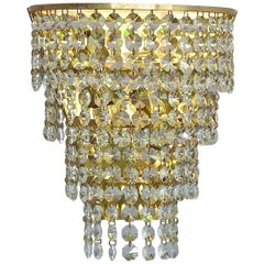Cascading Pair Palwa Faceted Crystal Glass Brass Waterfall Sconces Wall Lamps