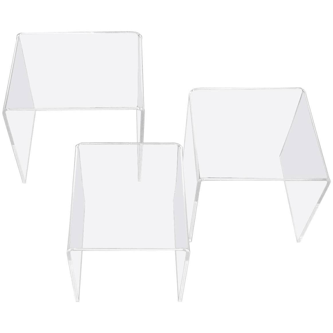 Set Of Three Italian Space Age Lucite Acrylic Nesting Tables, Clear Plastic