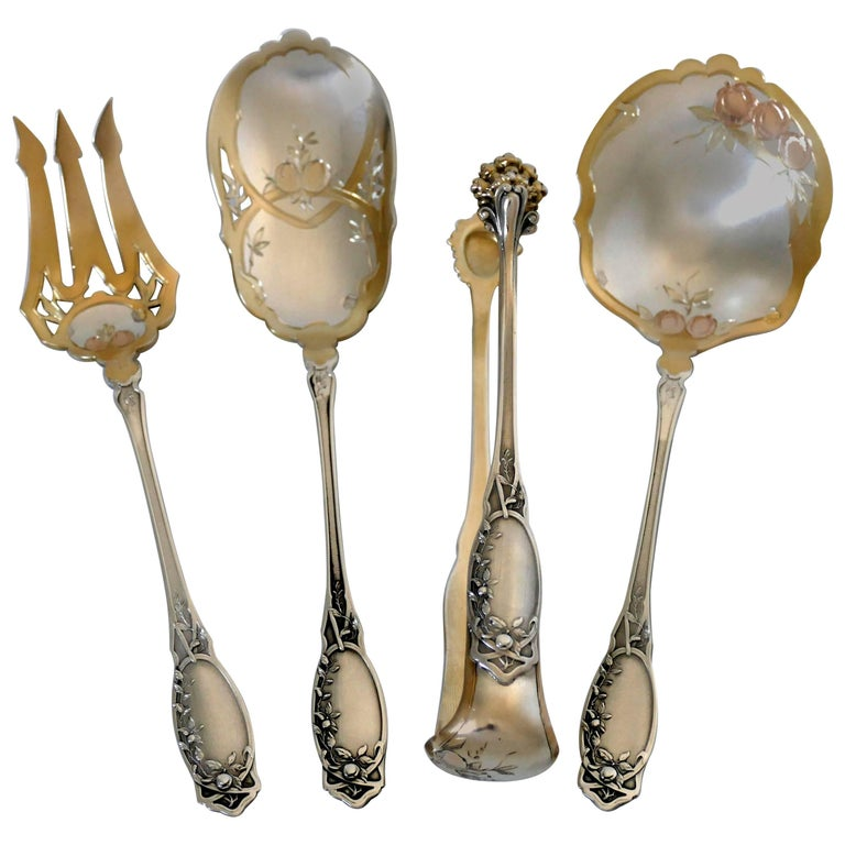 Coignet Rare French Sterling Silver Pink, Yellow 18k Gold Dessert Set Box Apples