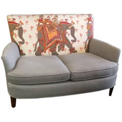 Sublime Vintage Loveseat with Custom Hermes and Gray Linen Upholstery