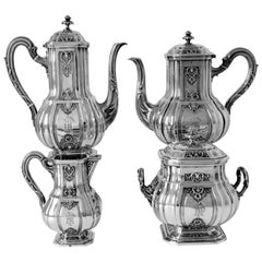 Puiforcat Rare Sterling Silver 18-karat Gold Tea Coffee Set of Four Pieces
