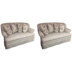 Great Looking Pair of Smart Platinum Gray Linen Sofa Loveseats