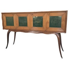 1950 Large Italian Buffet with Four Green Glass Doors