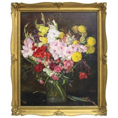 Art Deco Era Painting Gladioli by Emil Fiala Vienna, 1930s