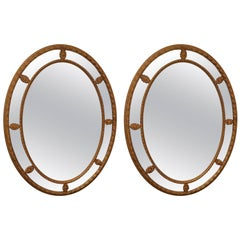 Classic Pair of Large Oval Italian Giltwood Mirrors