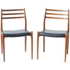 N.O. Moller Model 78 Danish Modern Dining Chairs in Teak, Pair