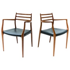 N.O. Moller Model 62 Danish Modern Dining Chairs of Teak, Pair