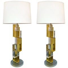 Pair of Contemporary Lamps Cubic Murano Glass