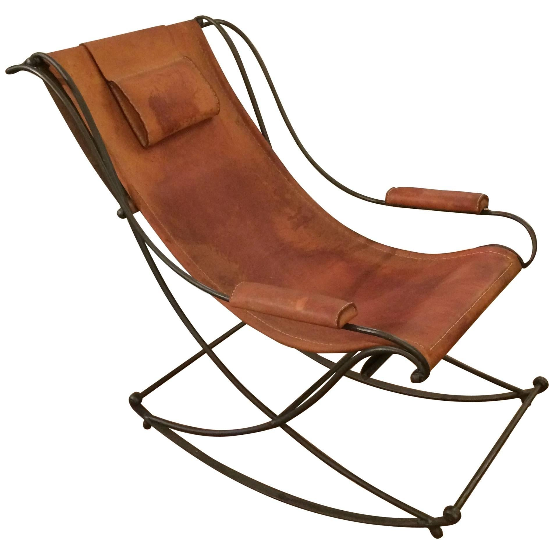 Super Cool Sling Back Distressed Leather And Iron Rocking Chair For Sale