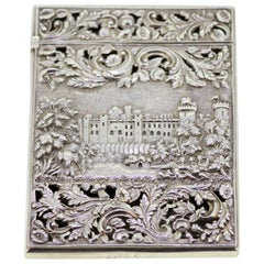Victorian Silver Card Case Depicting Kenilworth Castle, Nathaniel Mills, 1838