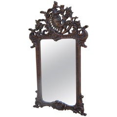 Large French Hand-Carved Wood Mirror with Swan/Goose