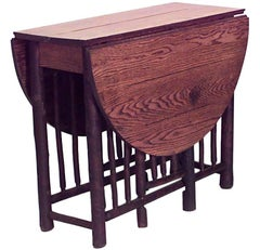 American Rustic Old Hickory Gate Leg Drop-Leaf Dining Table