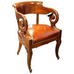 Empire Revival Mahogany Tub Shaped Desk Chair