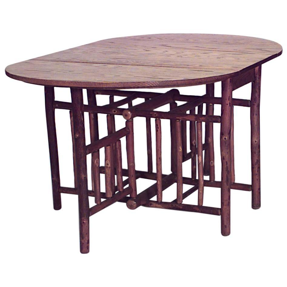 American Rustic Old Hickory Drop-Leaf Dining Table
