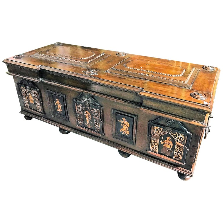 18th Century French Walnut and Inlaid Coffer or Blanket Chest