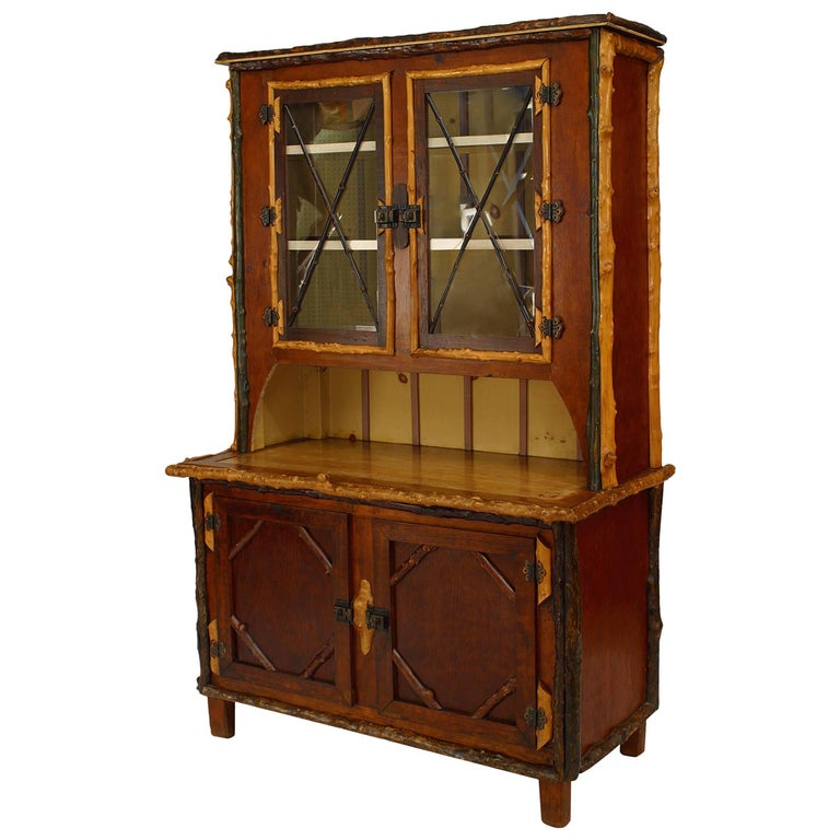 American Rustic Adirondack Style Painted Four-Door Cupboard, 19th-20th Century