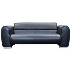 Brühl & Sippold Sumo Designer Sofa Leather Black Two-Seat Couch Modern