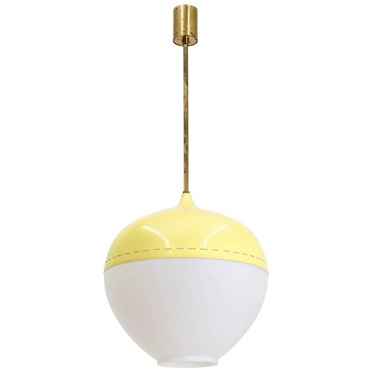 Stilnovo Satin Glass and Lacquered Pendant, 1950s For Sale