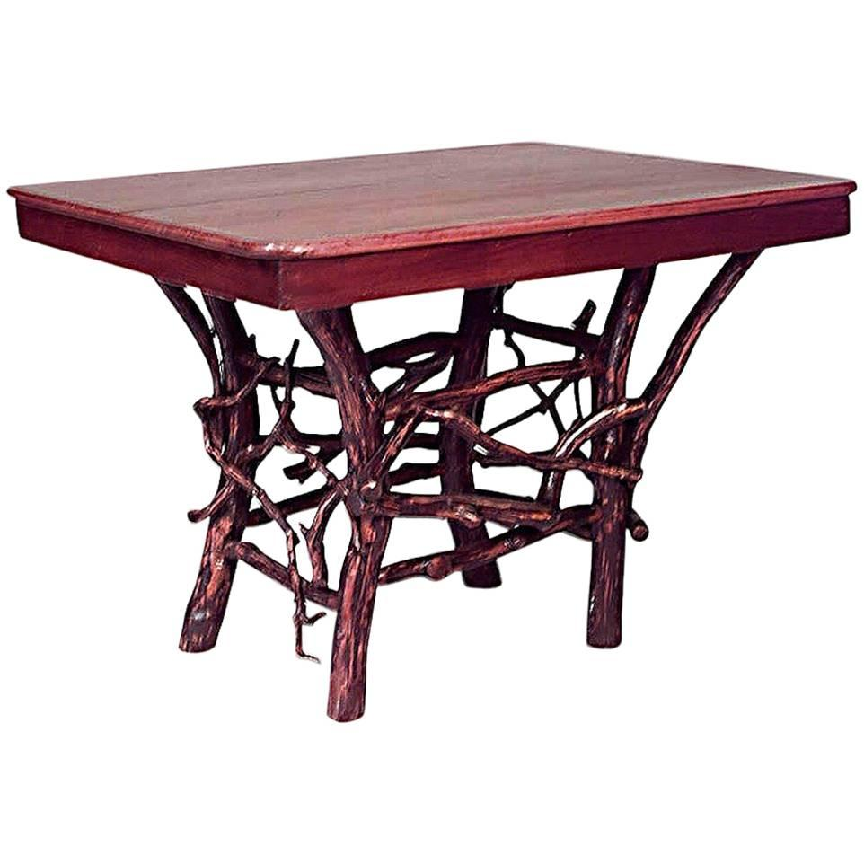 American Rustic Adirondack Style Twig Base Rectangular Dining Table
