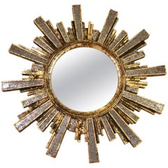 Glamorous Italian Gilded Sunburst Mirror