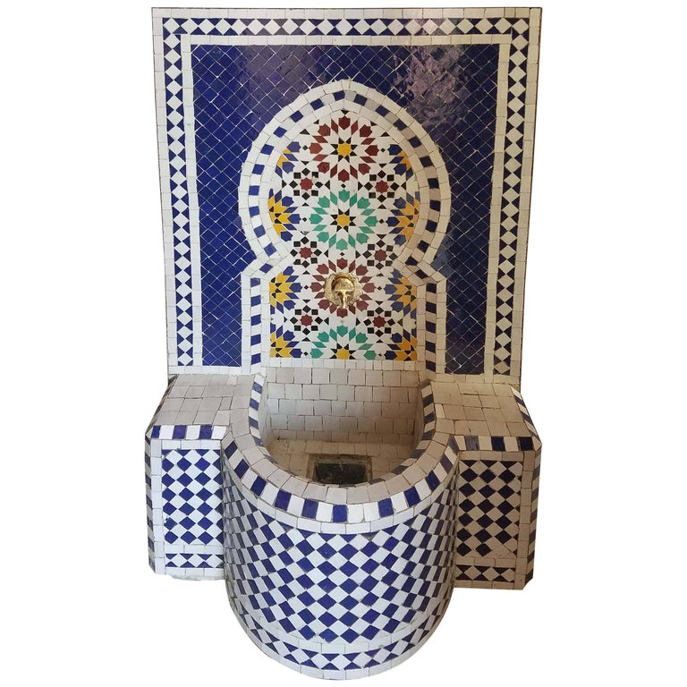 Cobalt Blue or Multi-Color Moroccan Mosaic Fountain, Garden and Indoor