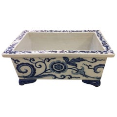 Lovely 19th Century English Blue and White Planter Jardiniere Cachepot
