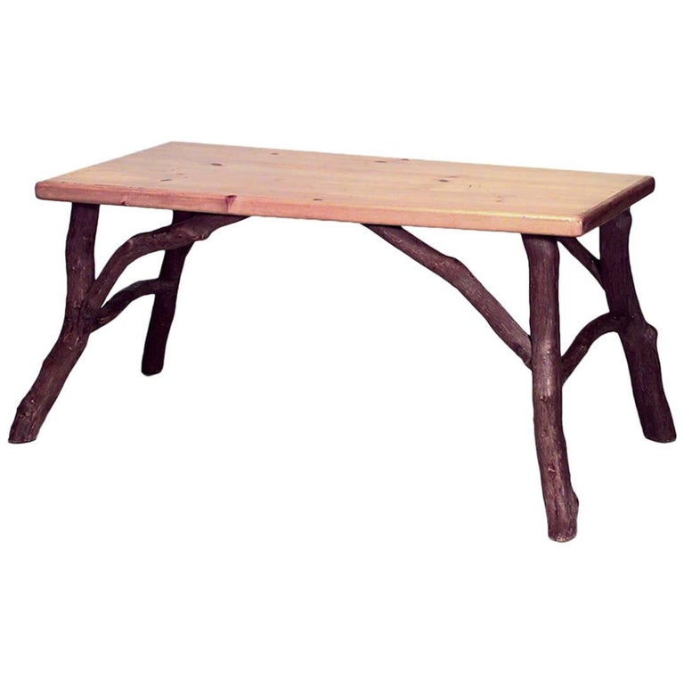 American Rustic Old Hickory Style Dining Table For Sale