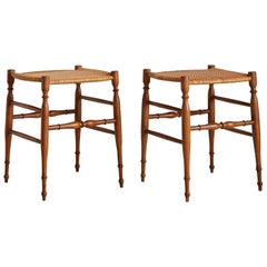 Pair of Chiavari Stools with Cane Seats