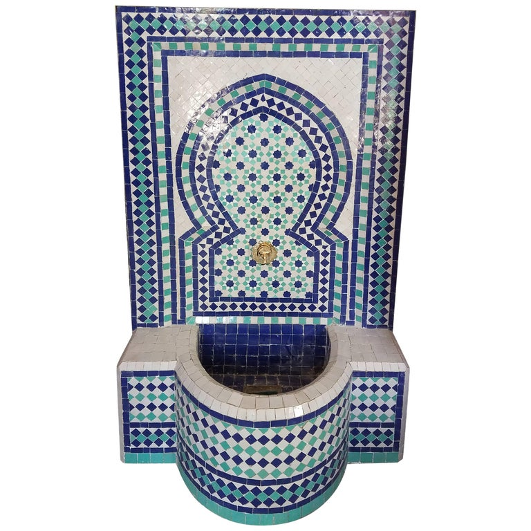Aqua White and Blue Moroccan Mosaic Table, Garden or Indoors