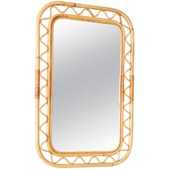 Vintage Swedish Rattan Mirror