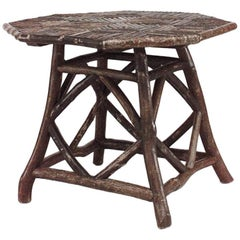Rustic Adirondack Style Twig Octagonal Shaped Game Table
