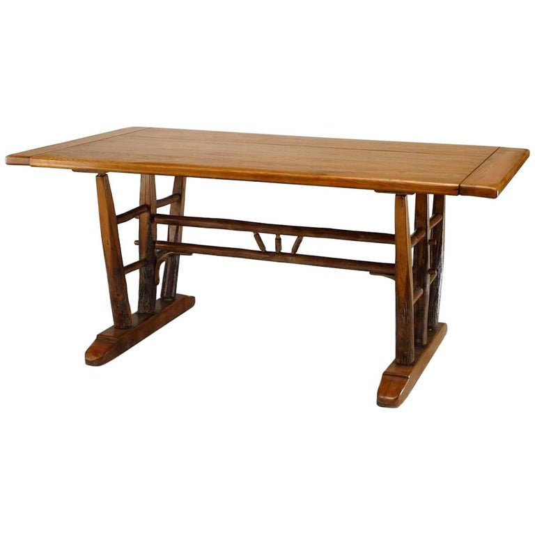 Rustic Old Hickory Dining Table with Rectangular Top on Trestle Supports