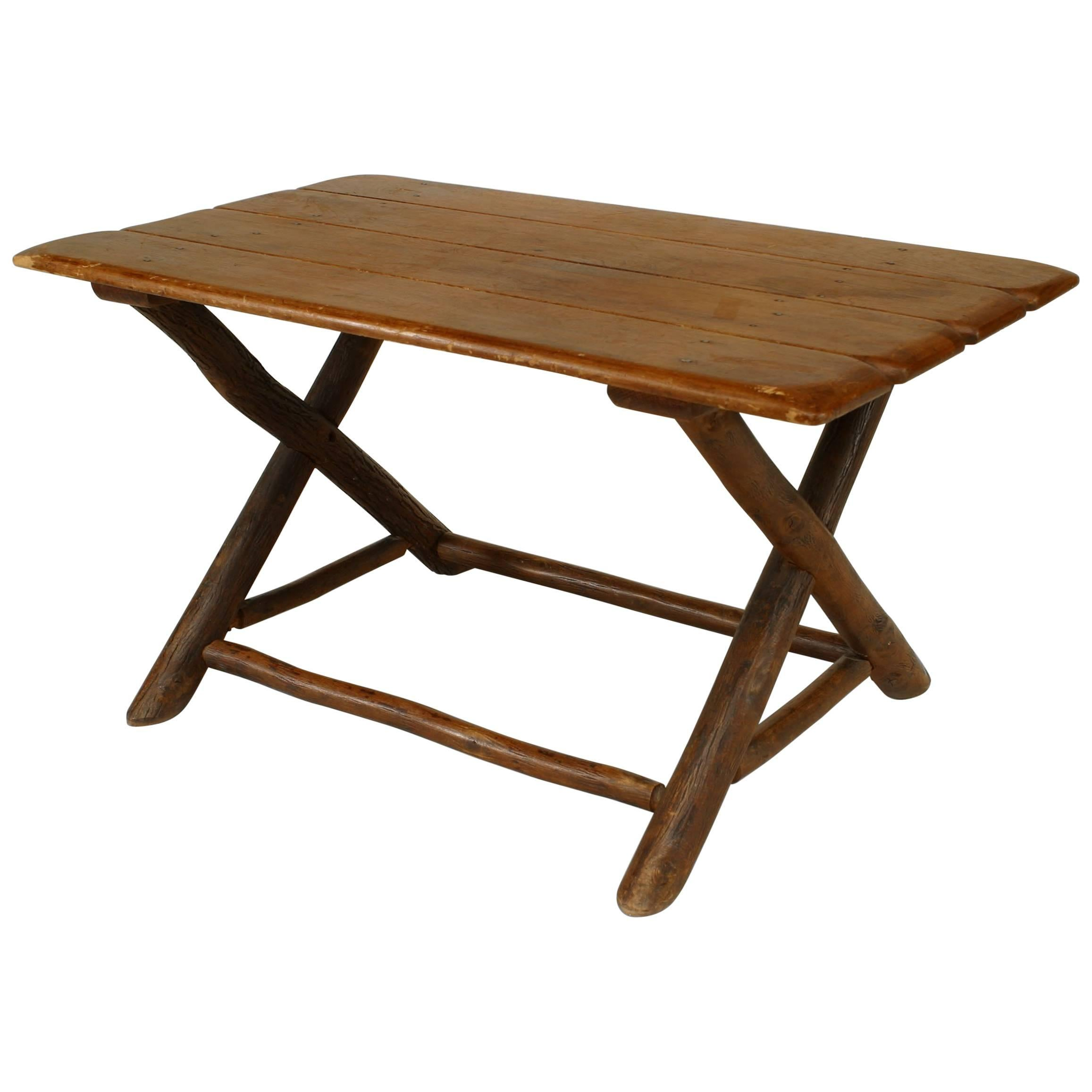Rustic Old Hickory Coffee Table For Sale