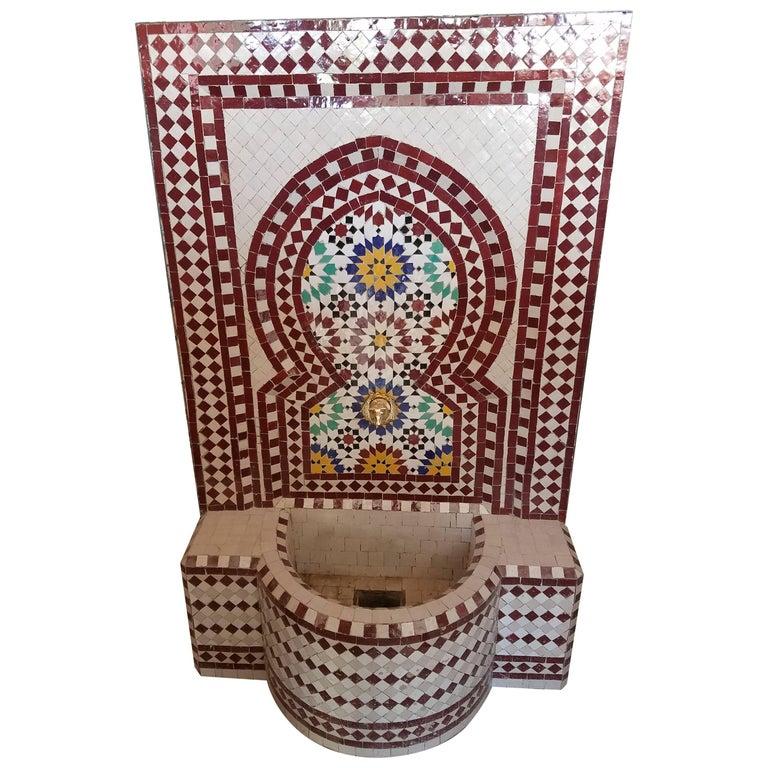 Brick Red/Multicolor Moroccan Mosaic Fountain, Garden or Indoors