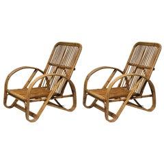 Pair of Italian Wicker Lounge Chairs, 1960s