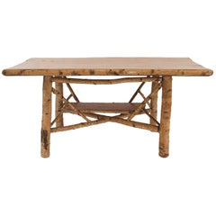 Rustic Adirondack Rectangular Birchwood Dining Table