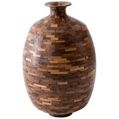 "Contemporary American Walnut Mosaic Stacked ""Jug"" by Richard Haining"