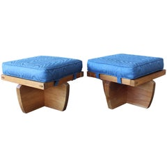 Pair of Stools in the Manner of George Nakashima