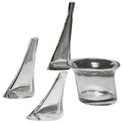 Set of Four Crystal Vases by Angelo Mangiarotti for Cristlleria Colle