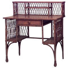 American Mission Natural Wicker and Golden Oak Desk