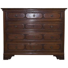17th Century Northern Italian Walnut Chest of Drawers, circa 1605
