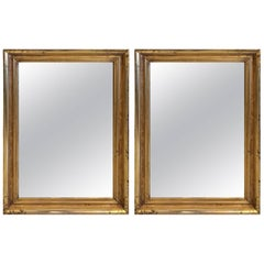 Pair of Elegant Lemon Gilt Antique Rectangular Mirrors