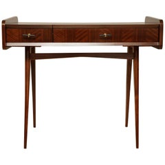 Italian Midcentury Sapele Wood Vanity or Dressing Table with Hinged Mirror